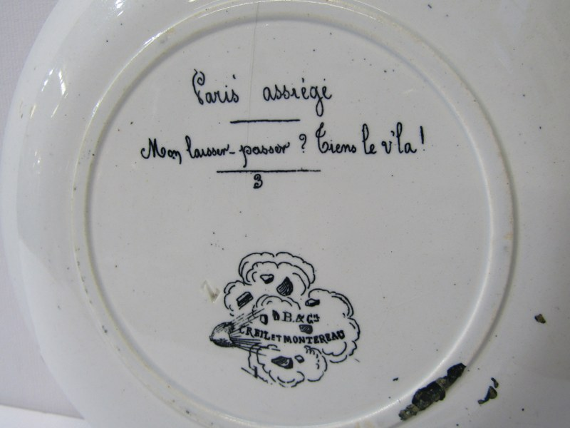 ANTIQUE FRENCH POTTERY PARIS SIEGE, set of 11 transfer printed dessert plates depicting scenes - Image 3 of 3