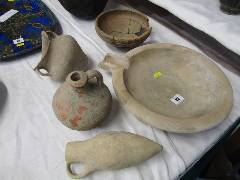 ARCHAIC POTTERY, Collection of Roman style earthenware pots, together with a Breton hanging - Image 2 of 3