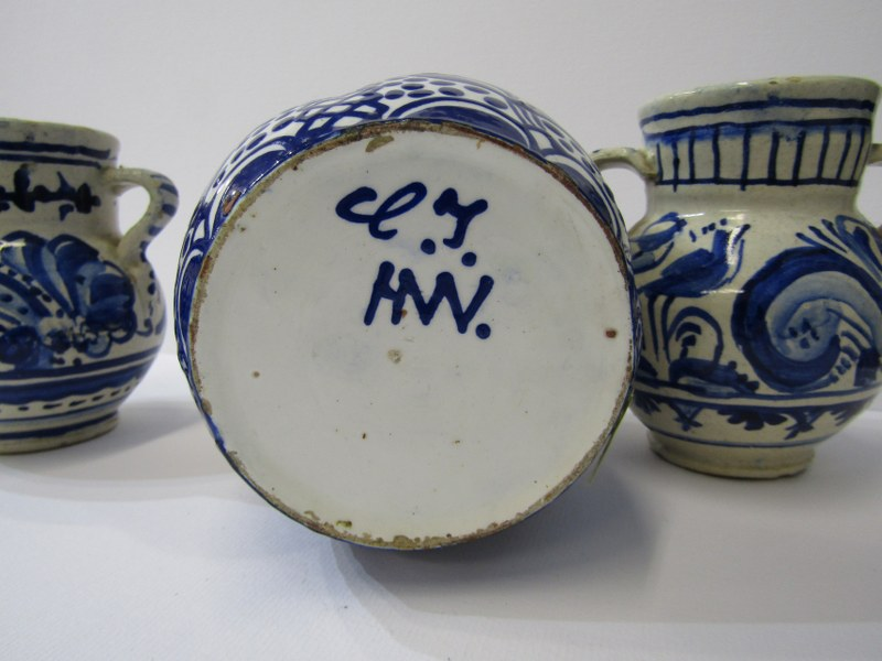 """DELFT, pair of twin handled bird & floral decorated 4"""" jars together with 1 similar floral decorated - Image 2 of 5"""