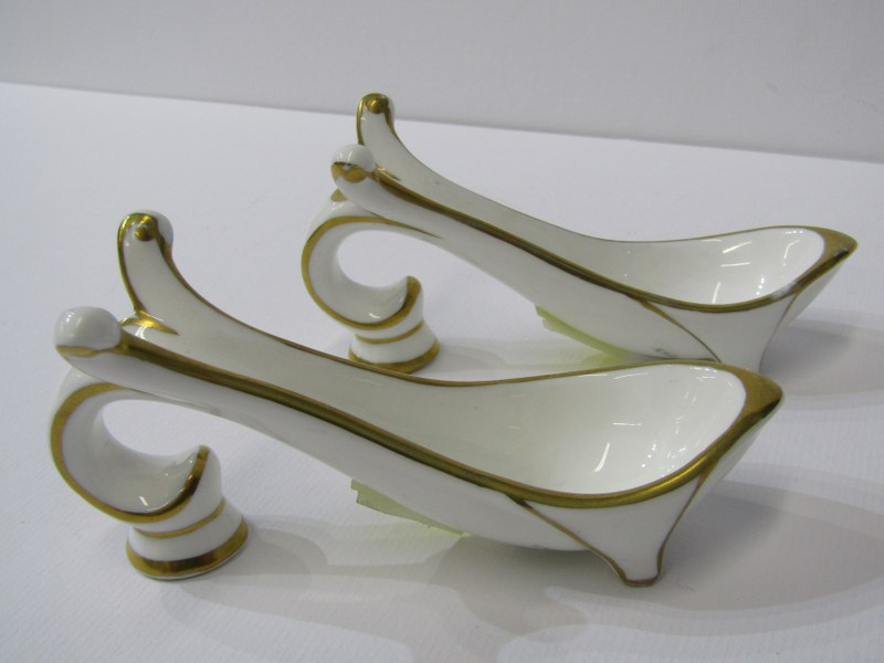SPOON RESTS, gilt decorated porcelain spoon rests by English China Clays, St Austell