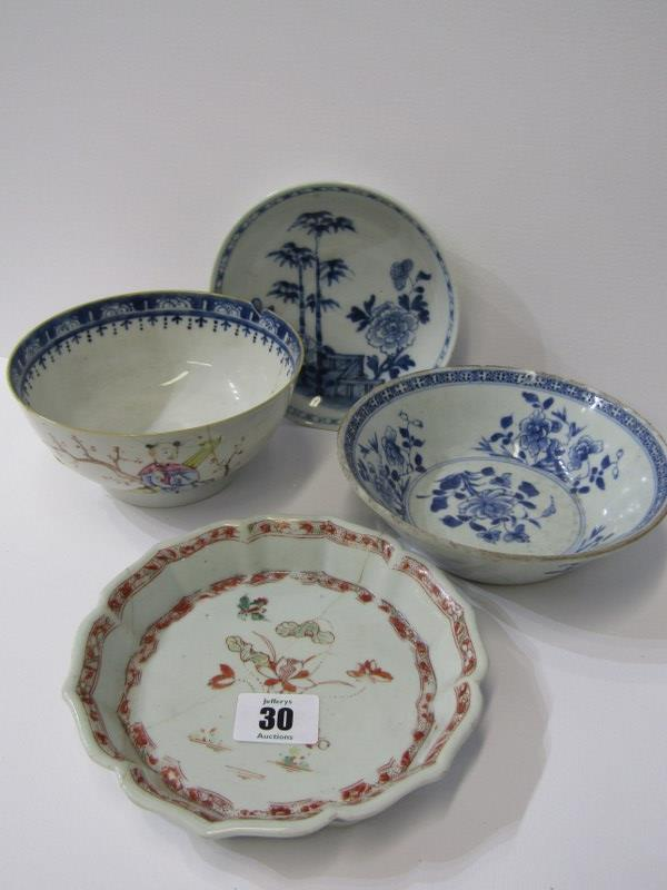 """ORIENTAL CERAMICS, CHINESE LOBED EDGE TEAPOT STAND a/f, also Famille Rose 5.5"""" bowl a/f and 2"""