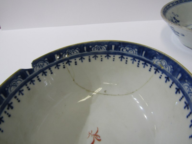 """ORIENTAL CERAMICS, CHINESE LOBED EDGE TEAPOT STAND a/f, also Famille Rose 5.5"""" bowl a/f and 2 - Image 2 of 4"""