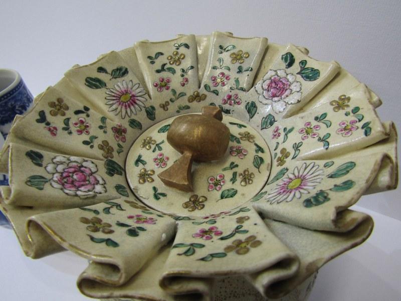 "ORIENTAL CERAMICS, unusual Satsuma ""Bag"" design lidded jar, 6"" height; also Nanking sparrow beaked - Image 2 of 5"