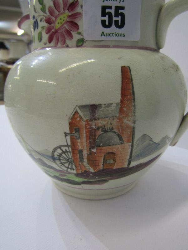 CORNISH MINING, 19th Century creamware jug decorated with engine house to one side and floral - Image 2 of 4
