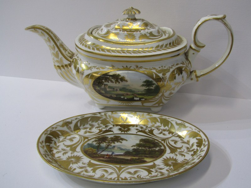 REGENCY CROWN DERBY, a fine gilded part tea service decorated with named topographical reserves