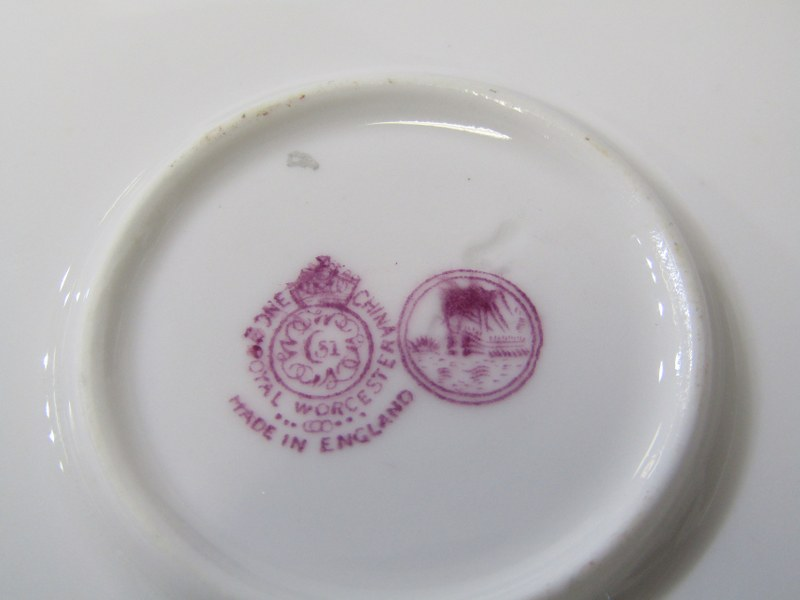 ROYAL WORCESTER, gilt powder blue ground coffee ware, 4 cups and 6 saucers with Viking ship mark - Image 4 of 4