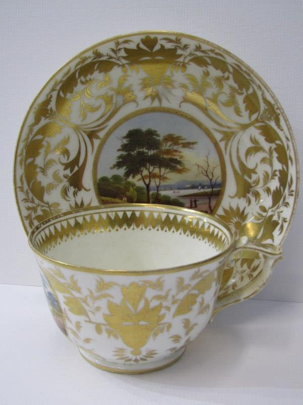 REGENCY CROWN DERBY, a fine gilded part tea service decorated with named topographical reserves - Image 4 of 4
