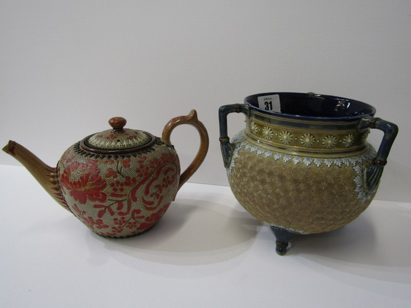 DOULTON STONEWARE, triple handled cauldron bowl with vortex design; together with Doulton &
