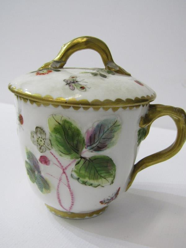 RED ANCHOR CHELSEA - TYPE, pair of lidded chocolate cups with insect and foliate design, also 3 - Image 2 of 7
