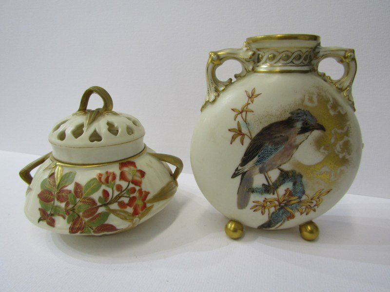 "ROYAL WORCESTER, aesthetics design bird decorated twin handled vase, 5"" height; also Royal Worcester"
