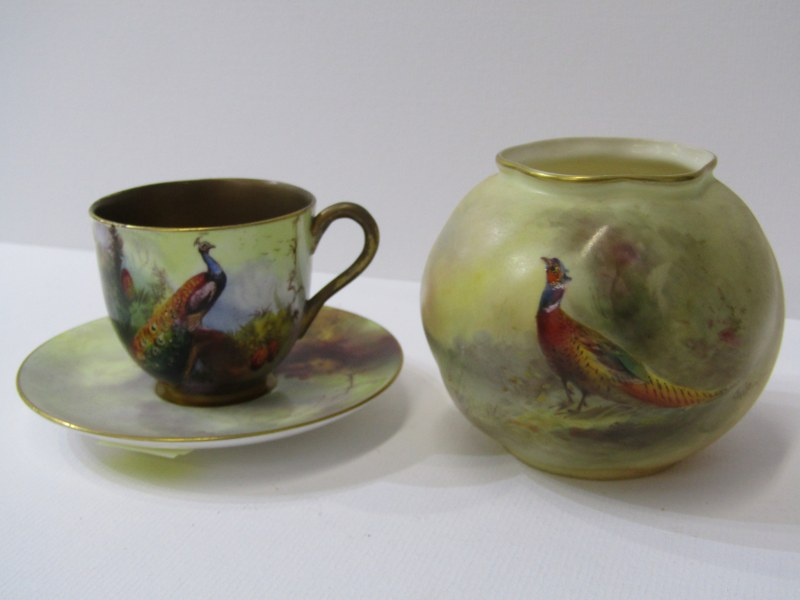 """ROYAL WORCESTER, STINTON, peach ground spherical posy painted with a Pheasent signed """"Jas Stinton"""""""