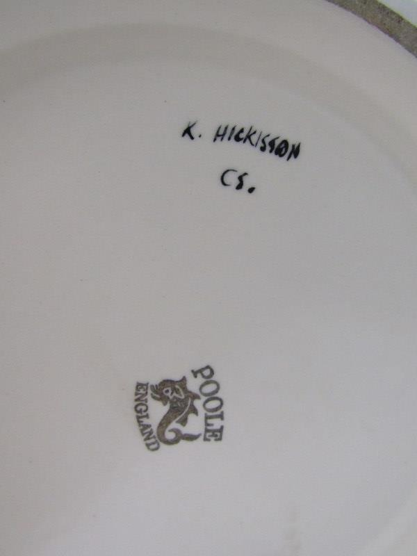 """POOLE, large floral decorated 13.5"""" vase signed K. Hickisson - Image 2 of 2"""