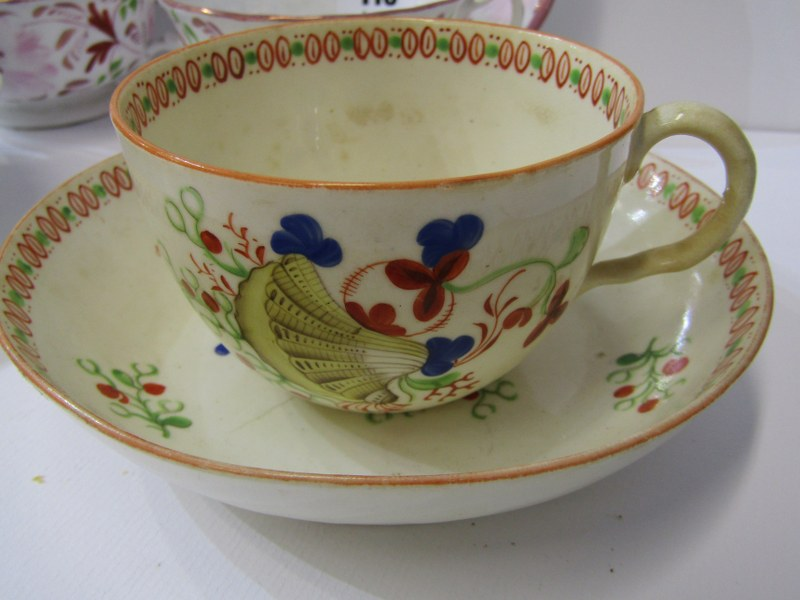 VICTORIAN TEAWARE, Newhall shell design teacup and saucer, pair of splash lustre tea cups and - Image 2 of 4