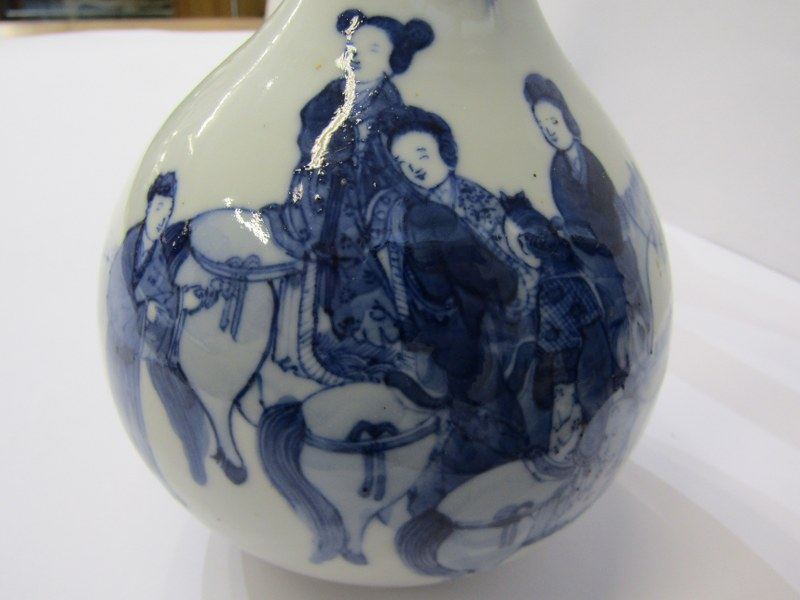 ORIENTAL CERAMICS, pair of early Chinese underglaze blue decorated bottle vases with a group of - Image 3 of 7