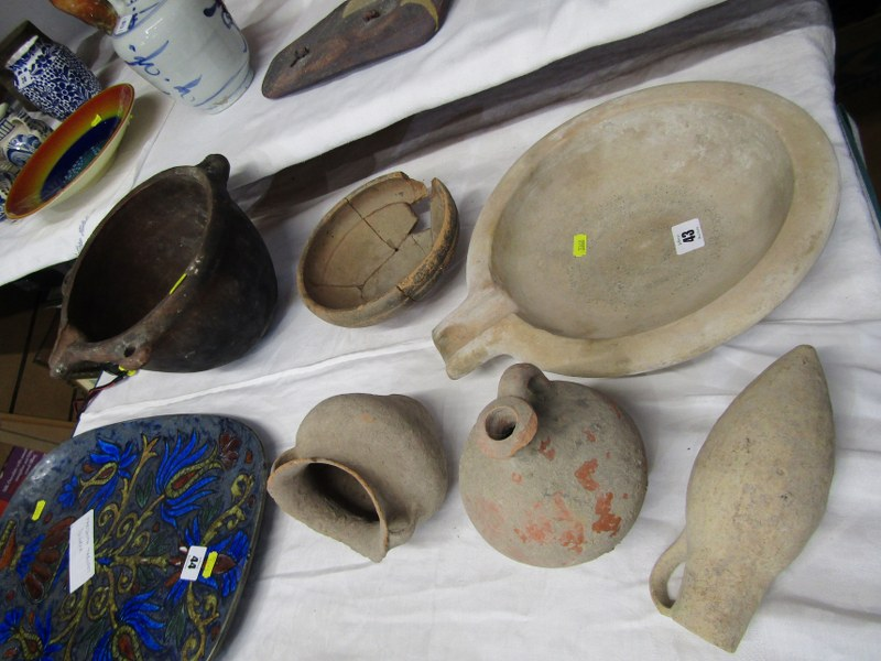 ARCHAIC POTTERY, Collection of Roman style earthenware pots, together with a Breton hanging