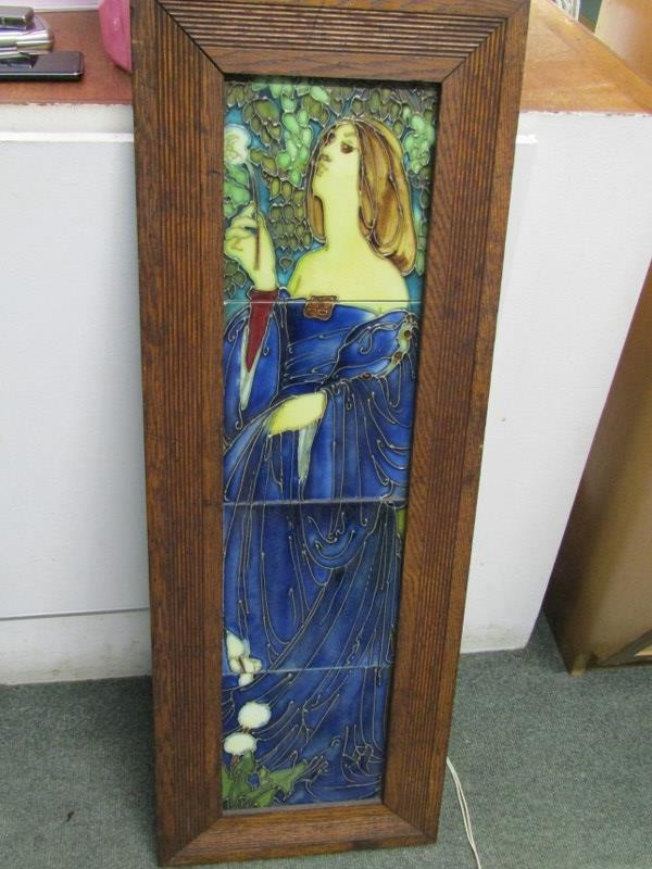 """ART NOUVEAU, a tiled picture panel """"portrait of young lady in blue dress"""" in style of Minton"""