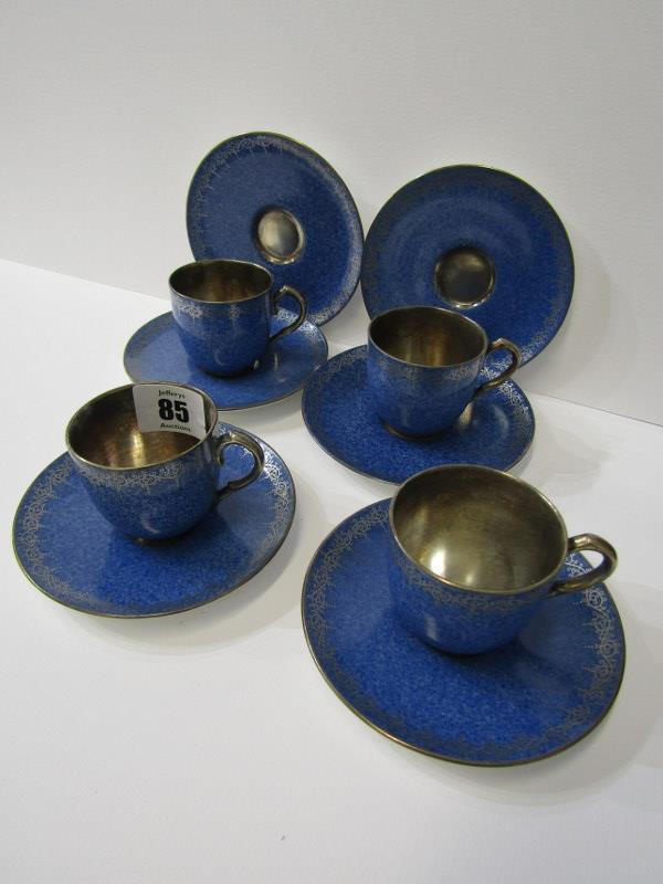 ROYAL WORCESTER, gilt powder blue ground coffee ware, 4 cups and 6 saucers with Viking ship mark