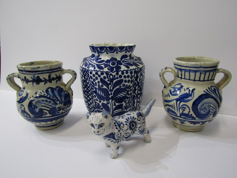 """DELFT, pair of twin handled bird & floral decorated 4"""" jars together with 1 similar floral decorated"""