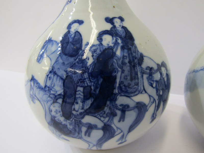 ORIENTAL CERAMICS, pair of early Chinese underglaze blue decorated bottle vases with a group of - Image 2 of 7