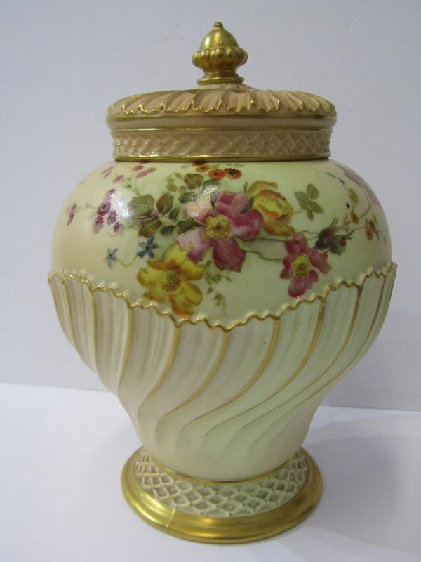 ROYAL WORCESTER PEACH GROUND, gilt heightened floral decorated lidded pot pourri vase, pattern no.
