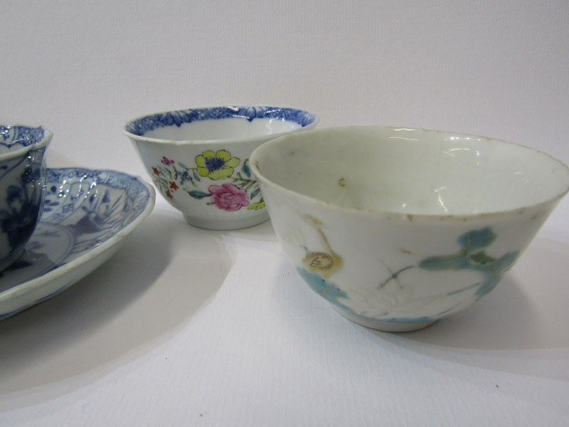 ORIENTAL CERAMICS, Chinese underglaze blue tea bowl and matching saucer and 4 other early tea - Image 3 of 3