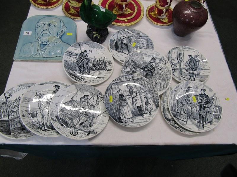 ANTIQUE FRENCH POTTERY PARIS SIEGE, set of 11 transfer printed dessert plates depicting scenes