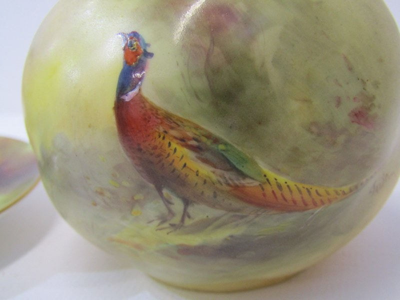 """ROYAL WORCESTER, STINTON, peach ground spherical posy painted with a Pheasent signed """"Jas Stinton"""" - Image 2 of 6"""