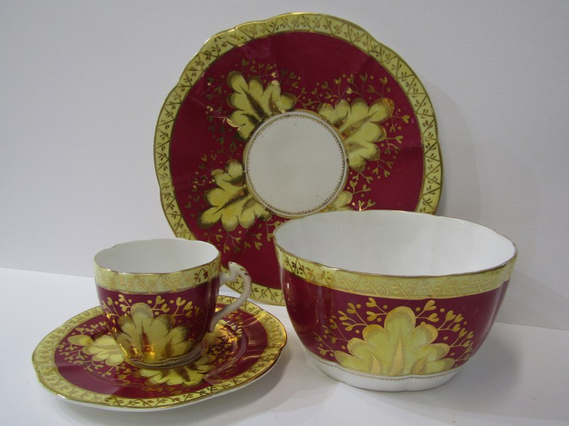 VICTORIAN TEA SERVICE, Mid 19th Century gilded claret bodied tea service including teapot, sucrier - Image 2 of 2