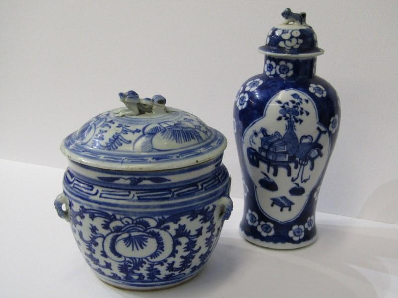 "ORIENTAL CERAMICS, under glaze blue porcellainous stoneware lidded 6"" jar together with Hawthorn"