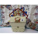 EDWARD VIII COMMEMORATIVE gypsy wagon design biscuit barrel by Coronet, together with QEII