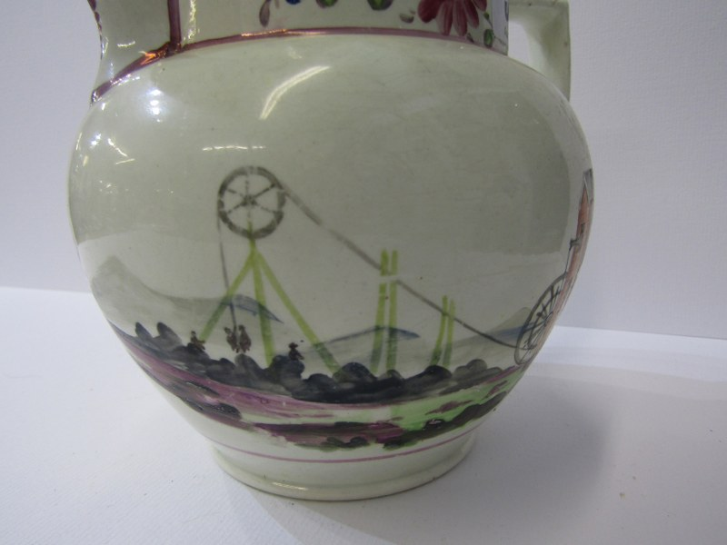 CORNISH MINING, 19th Century creamware jug decorated with engine house to one side and floral - Image 3 of 4
