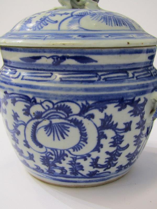 "ORIENTAL CERAMICS, under glaze blue porcellainous stoneware lidded 6"" jar together with Hawthorn - Image 3 of 9"