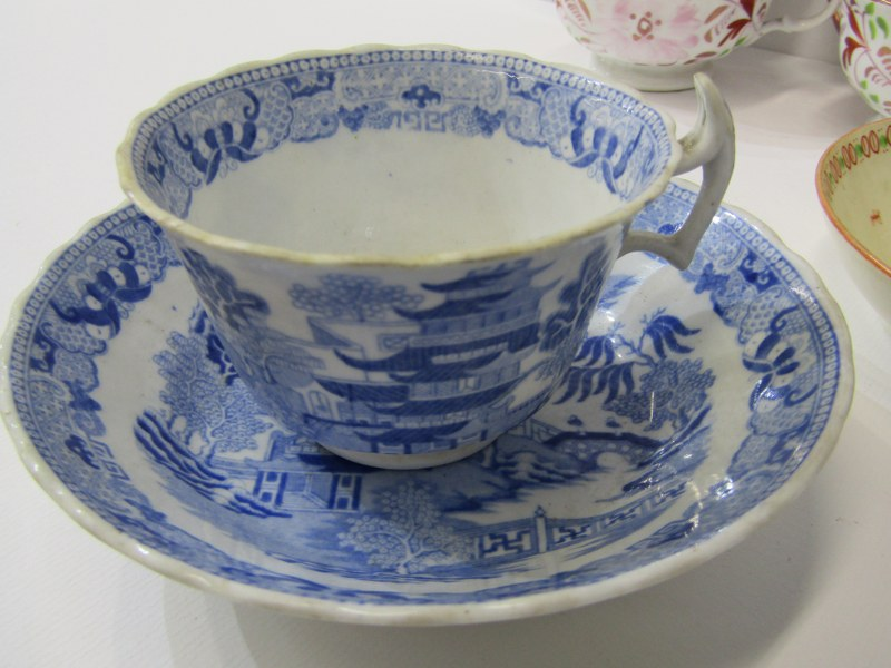 VICTORIAN TEAWARE, Newhall shell design teacup and saucer, pair of splash lustre tea cups and - Image 3 of 4