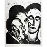 Max Pechstein. Drei Köpfe. Holzschnitt. 1923. 49,5 : 40,0 cm (76,5 : 56,0 cm). Signiert.