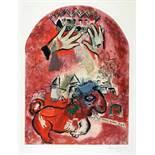 Marc Chagall. Maquette du vitrail »Juda«. (Der Stamm Juda). Farblithographie nach Gouache. 1964.