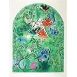 Marc Chagall. Maquette du vitrail »Issacar«. (Der Stamm Issachar). Farblithographie nach Gouache.
