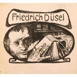 Ernst Barlach. Exlibris Friedrich Düsel. Lithographie. Um 1905/06. 7,5 : 9,8 cm (9.8 : 10,5 cm).