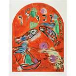 Marc Chagall. Maquette du vitrail »Zabulon«. (Der Stamm Sebulon). Farblithographie nach Gouache.
