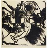 Heinrich Campendonk. Sitzender weiblicher Akt in Landschaft mit Bauernhaus. Holzschnitt. 1920/21. 22
