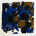Ernst Wilhelm Nay. Komposition. Farbholzschnitt. 1959. 21,4 : 21,0 cm (24,8 : 24,8 cm). Signiert,