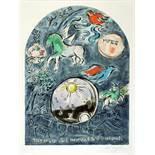 Marc Chagall. Maquette du vitrail »Simeon«. (Der Stamm Simeon). Farblithographie nach Gouache. 1964.