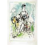 Marc Chagall. Pierrot lunaire. Farblithographie. 1969. 58,8 : 37,8 cm (76,0 : 53,5 cm). Signiert und