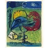 Marc Chagall. Le coq. Farblithographie nach einem Gemälde. 1952. 26 : 20 cm. Auf Velin d'Ar