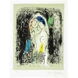 Marc Chagall. Les amoureux en gris. Farblithographie. 1957. 21,8 : 28,3 cm (41,3 : 32,0 cm).