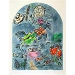 Marc Chagall. Maquette du vitrail »Ruben«. (Der Stamm Ruben). Farblithographie nach Gouache. 1964.