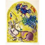 Marc Chagall. Maquette du vitrail »Nephtal«. (Der Stamm Naphthali). Farblithographie nach Gouache.