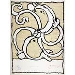 Pierre Alechinsky. Roue vicinale. Farblithographie. 1971. 62 : 46 cm. Signiert, betitelt und