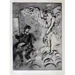 Marc Chagall. L'Apparition, I. (Die Erscheinung, I). Aquatintaradierung. 1924/1925. 37,2 : 27,3
