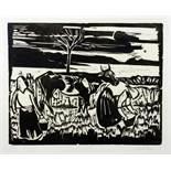Max Pechstein. Kuh mit Frauen. Holzschnitt. 1923. 31,5 : 40,0 cm (ca. 50 : 60 cm). Signiert und