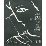 Oskar Schlemmer. Exlibris. Aus der Bücherei von Tut und Oskar Schlemmer. Linolschnitt. 1925.11,8 :